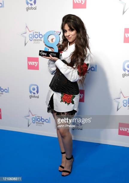 Camila Cabello winner of the Best Female Award at The Global Awards 2020 at Eventim Apollo Hammersmith on March 05 2020 in London England