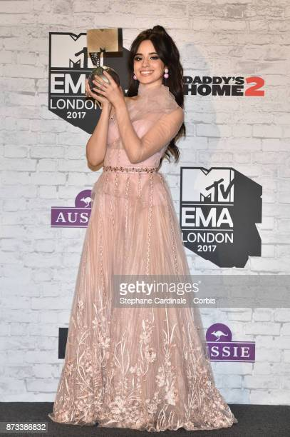 Camilla Cabello with the award for Best Pop in the Winners Room during the MTV EMAs 2017 held at The SSE Arena Wembley on November 12 2017 in London...