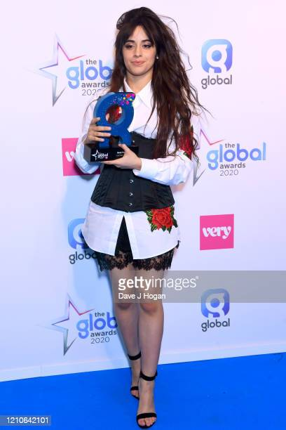 Camila Cabello with the Best Female Award during The Global Awards 2020 at Eventim Apollo Hammersmith on March 05 2020 in London England
