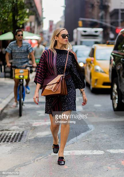 Camila Carril wearing a Chloe bag and Gucci shoes outside Rebecca Minkoff on September 10 2016 in New York City