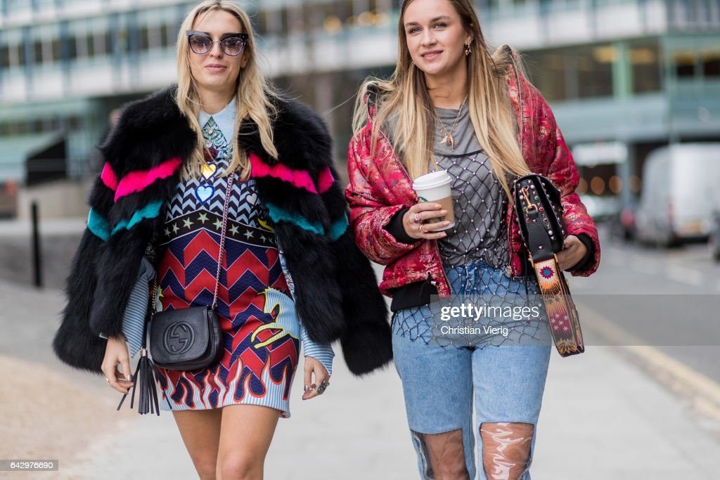 Camila Carril wearing dress and Nina Suess ripped denim jeans outside Topshop Unique on day 3 of the London Fashion Week February 2017 collections on February 19, 2017 in London, England.
