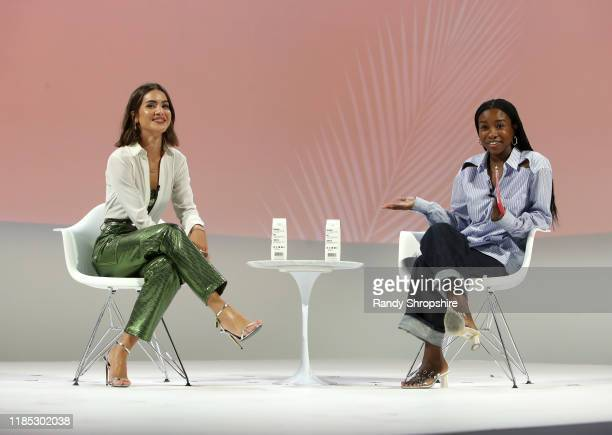 Camila Coelho and Teen Vogue fashion beauty features director Tahirah Hairston speak on stage at the Teen Vogue Summit 2019 at Goya Studios on...