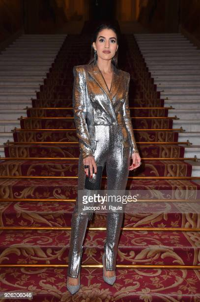 Camila Coelho attends the Balmain show as part of the Paris Fashion Week Womenswear Fall/Winter 2018/2019 on March 2 2018 in Paris France