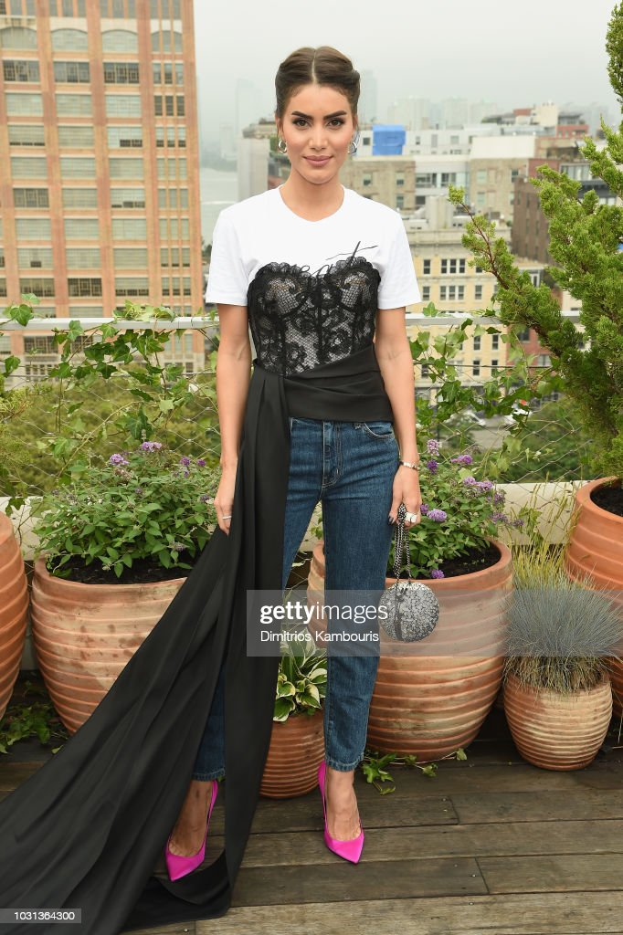 Camila Coelho attends the Oscar De La Renta front Row during New York Fashion Week: The Shows at Spring Studios Terrace on September 11, 2018 in New York City.