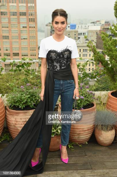 Camila Coelho attends the Oscar De La Renta front Row during New York Fashion Week The Shows at Spring Studios Terrace on September 11 2018 in New...