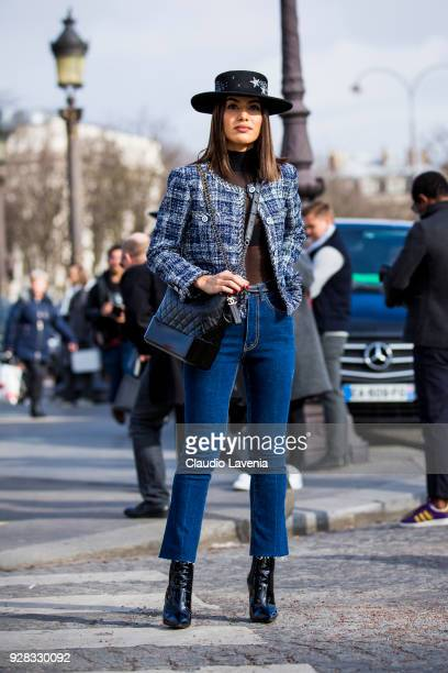 Camila Coelho is seen in the streets of Paris before the Chanel show during Paris Fashion Week Womenswear Fall/Winter 2018/2019 on March 6 2018 in...