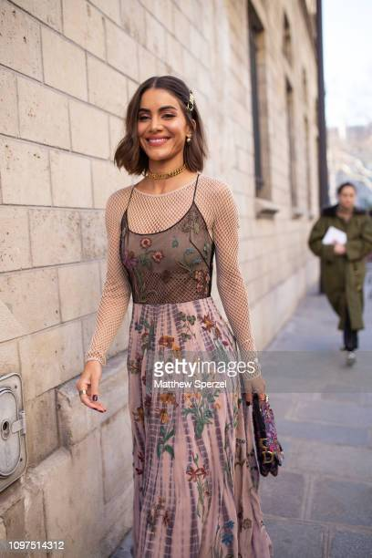 Camila Coelho is seen on the street attending CHRISTIAN DIOR during Paris Haute Couture Fashion Week wearing Dior on January 21, 2019 in Paris,...