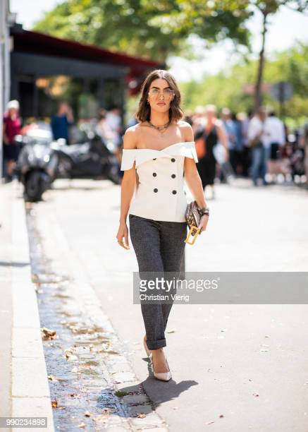 Camila Coelho is seen outside Dior on day two during Paris Fashion Week Haute Couture FW18 on July 2 2018 in Paris France