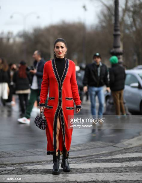 Camila Coelho is seen outside the Chanel show during Paris Fashion week Womenswear Fall/Winter 2020/2021 Day Eight on March 02 2020 in Paris France