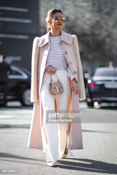 Camila Coelho is seen, outside the Chloe show, during Paris Fashion Week Womenswear Fall/Winter 2017/2018, on March 2, 2017 in Paris, France.