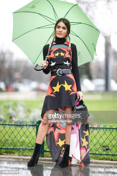 Camila Coelho is seen outside the Elie Saab show during Paris Fashion Week Womenswear Fall/Winter 2017/2018 on March 4 2017 in Paris France