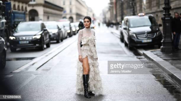 Camila Coelho is seen wearing outside the Giambattista Valli show during Paris Fashion week Womenswear Fall/Winter 2020/2021 Day Seven on March 01...