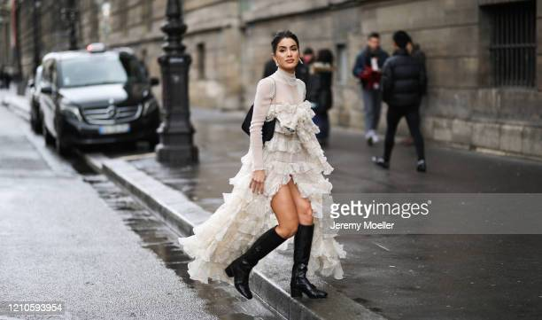 Camila Coelho is seen wearing outside the Giambattista Valli show during Paris Fashion week Womenswear Fall/Winter 2020/2021 Day Seven on March 01,...