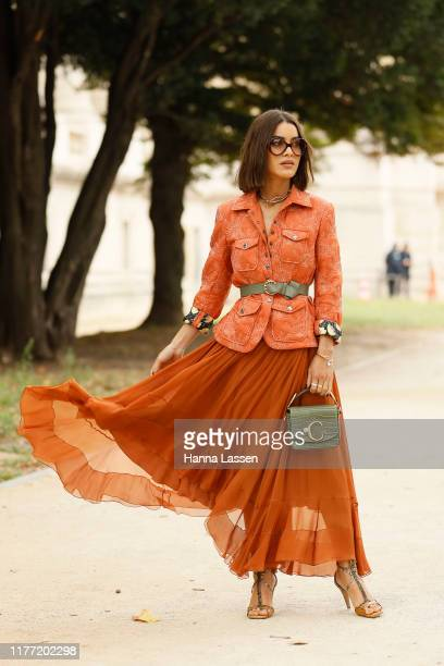 Camila Coelho wearing Chloe bag and belt outside Chloe during Paris Fashion Week - Womenswear Spring Summer 2020 on September 26, 2019 in Paris,...