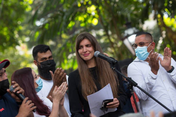 VEN: Camila Fabri Takes Part In A Rally In Support of Alex Saab After His Extradition From Cape Verde To The US