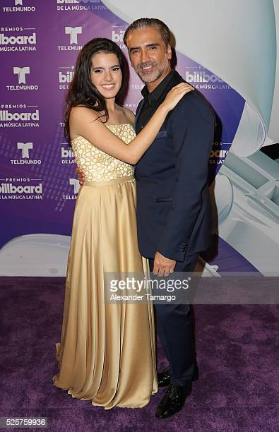 Camila Fernandez and her father Alejandro Fernandez are seen backstage at the Billboard Latin Music Awards at the Bank United Center on April 28 2016...