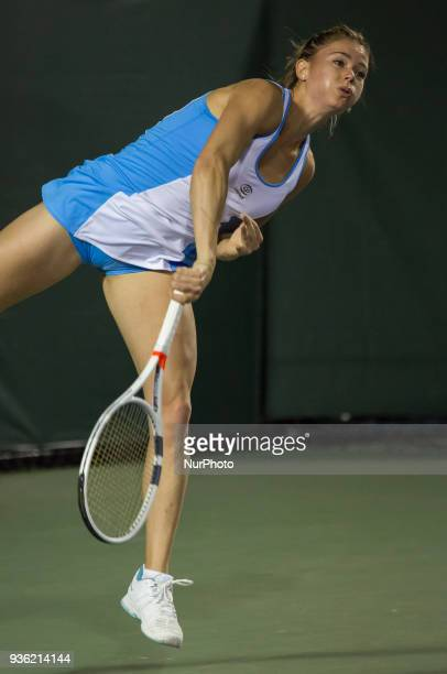 Camila Georgi from Italy in action during her match agains Donna Vekic from Croatia Vekic won 60 75 in Miami on March 21 2018