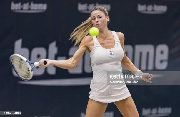 Camila Giorgi of Ita in action during Day 4 of the Upper Austria Ladies Linz at TipsArena Linz on November 12, 2020 in Linz, Austria.
