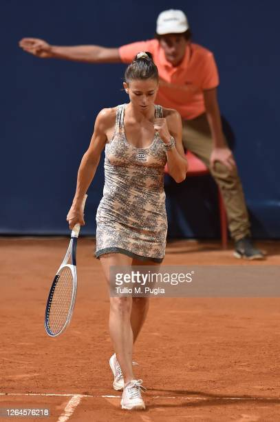 Camila Giorgi of Italy celebrates after winning her match against Dayana Yastremska of Ukraine during 31st Palermo Ladies Open Quarter Finals on...