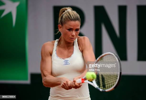 PARIS FRANCE JUNE Camila Giorgi of Italy hits a backhand to Sloane Stephens of the United States in the third round of the women's singles during the...