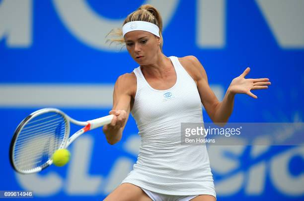 Camila Giorgi of Italy hits a forehand during the second round match against Elina Svitolina of Ukraine on day four of The Aegon Classic Birmingham...