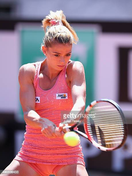 Camila Giorgi of Italy in action against Christina McHale of USA during day four of the Internazionali BNL d'Italia tennis 2014 on May 14 2014 in...