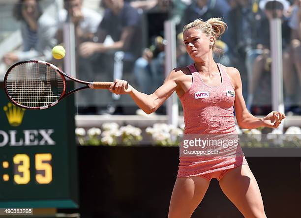 Camila Giorgi of Italy in action against Christina McHale of USA during day 4 of the Internazionali BNL d'Italia 2014 on May 14 2014 in Rome Italy