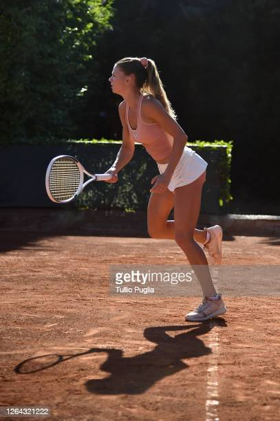 Camila Giorgi of Italy in action during a training session during the 31st Palermo Ladies Open Day Four on August 06 2020 in Palermo Italy