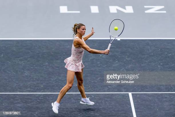 Camila Giorgi of Italy in action during Day 2 of the Upper Austria Ladies Linz at TipsArena Linz on November 10, 2020 in Linz, Austria.
