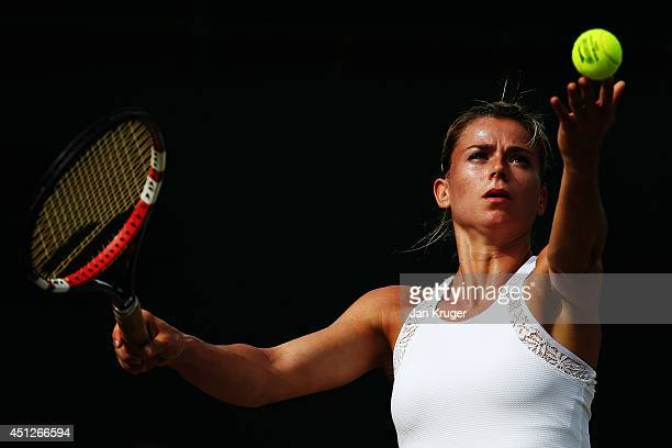 Camila Giorgi of Italy in action during her Ladies' Singles second round match against Alison Riske of the United States on day four of the Wimbledon...