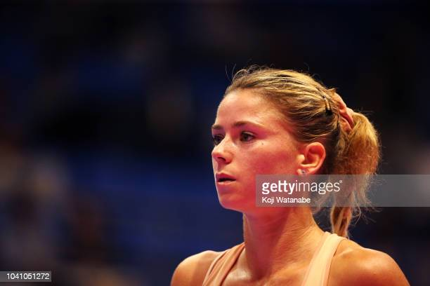 Camila Giorgi of Italy looks on in her Singles Round of 16 match against Caroline Wozniacki of Denmark on day four of the Toray Pan Pacific Open at...