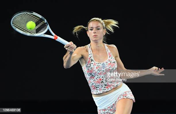 Camila Giorgi of Italy plays a forehand against Karolina Pliskova of the Czech Republic in their third round women's match on day six of the...