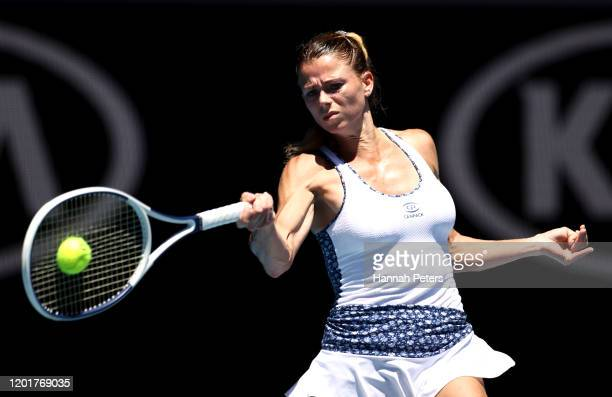 Camila Giorgi of Italy plays a forehand during her Women's Singles third round match against Angelique Kerber of Germany on day six of the 2020...