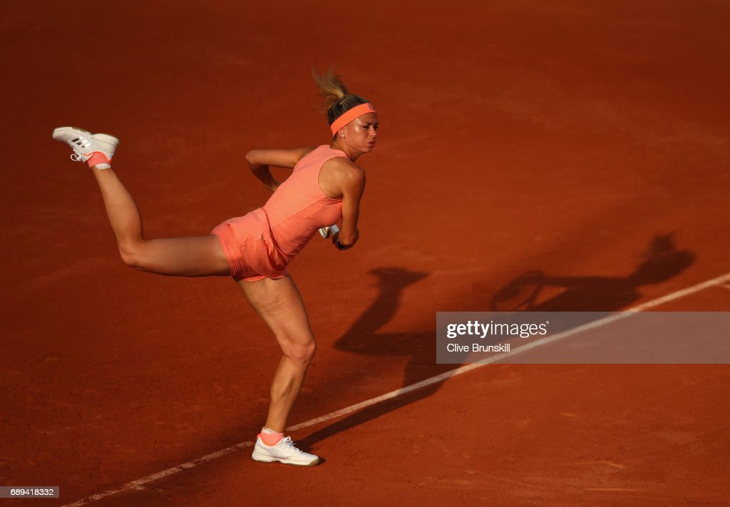 Camila Giorgi of Italy plays a forehand during the ladies singles first round match against Oceane Dodin of France on day one of the 2017 French Open at Roland Garros on May 28, 2017 in Paris, France.