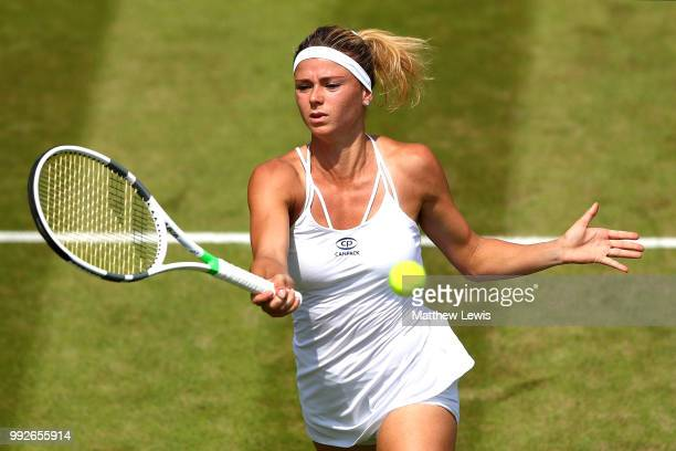 Camila Giorgi of Italy plays a forehand in her Ladies' Singles third round match against Katerina Siniakova of Czech Republic on day five of the...