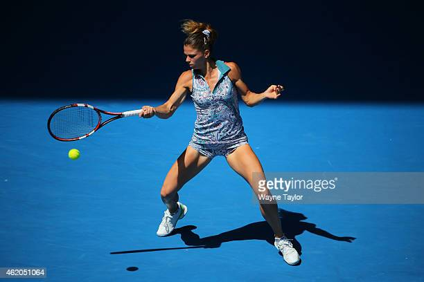 Camila Giorgi of Italy plays a forehand in her third round match against Venus Williams of the United States during day six of the 2015 Australian...