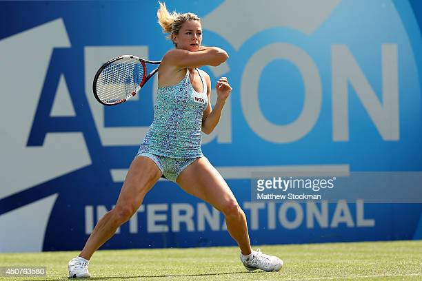 Camila Giorgi of Italy plays Victoria Azarenka of Belarus during the Aegoin International at Devonshire Park on June 17 2014 in Eastbourne England