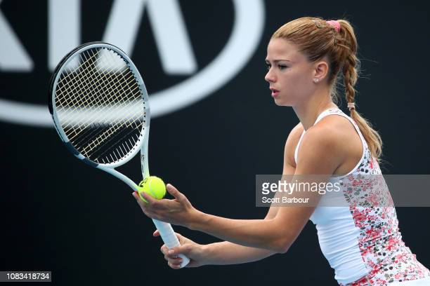 Camila Giorgi of Italy prepares to serve in her second round match against Iga Swiatek of Poland during day four of the 2019 Australian Open at...