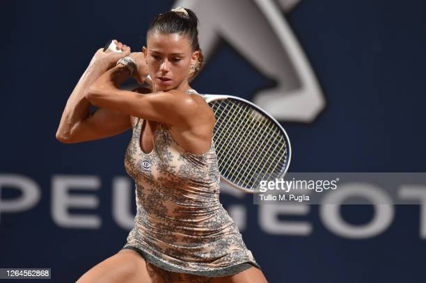 Camila Giorgi of Italy returns a shot against Dayana Yastremska of Ukraine during 31st Palermo Ladies Open Quarter Finals on August 07 2020 in...