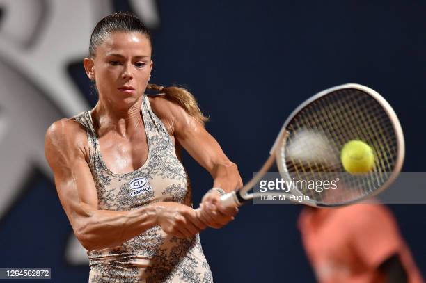 Camila Giorgi of Italy returns a shot against Dayana Yastremska of Ukraine during 31st Palermo Ladies Open - Quarter Finals on August 07, 2020 in...