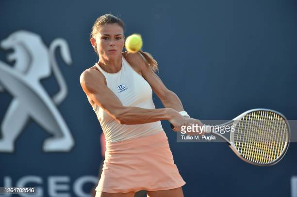 Camila Giorgi of Italy returns a shot against Fiona Ferro of France during 31st Palermo Ladies Open Semi Finals on August 08 2020 in Palermo Italy
