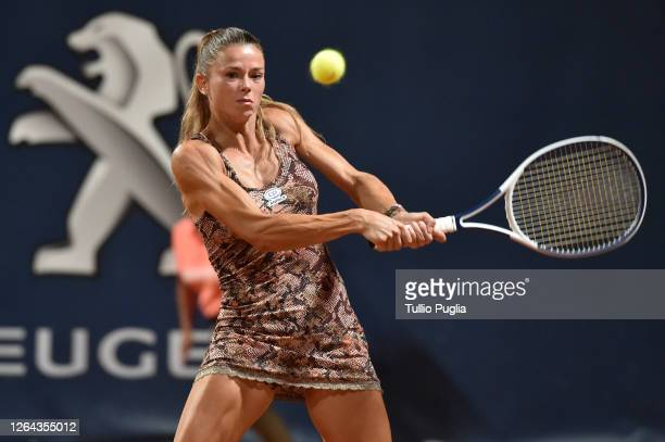 Camila Giorgi of Italy returns a shot against Kaja Juvan od Slovenia during the 31st Palermo Ladies Open Day Four on August 06 2020 in Palermo Italy