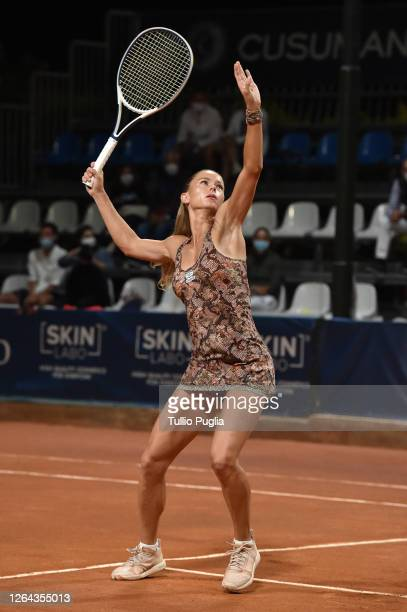 Camila Giorgi of Italy returns a shot against Kaja Juvan of Slovenia during the 31st Palermo Ladies Open Day Four on August 06 2020 in Palermo Italy