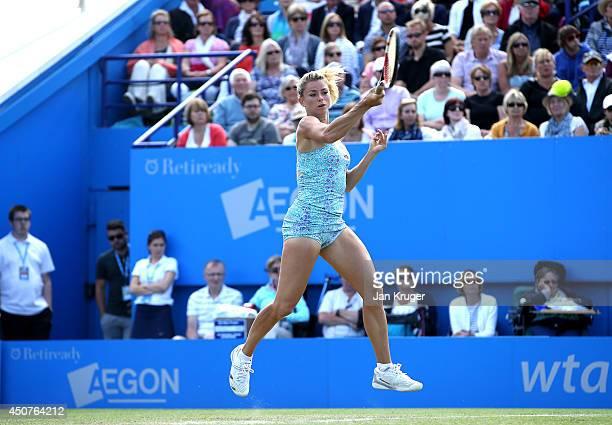 Camila Giorgi of Italy returns against Victoria Azarenka of Bulgaria during their Womens Singles match on day four of the Aegon International at...