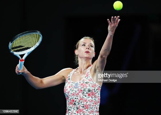Camila Giorgi of Italy serves against Karolina Pliskova of the Czech Republic in their third round women's match on day six of the Australian...