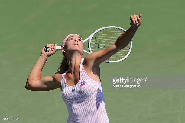 Camila Giorgi of Italy serves against Roberta Vinci of Italy during day three of the Rogers Cup at Uniprix Stadium on July 27 2016 in Montreal Quebec...