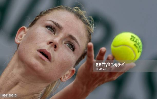 Camila Giorgi of Italy serves against Sloane Stephens of United States during the third round at Roland Garros Grand Slam Tournament Day 7 on June 02...