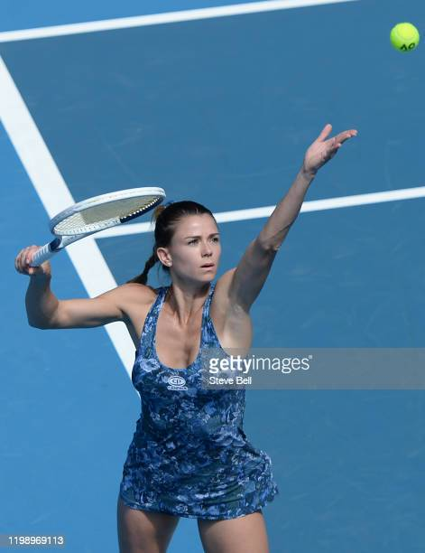 Camila Giorgi of Italy serves during day two of the 2020 Hobart International at Domain Tennis Centre on January 12 2020 in Hobart Australia