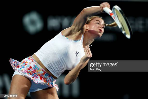 Camila Giorgi of Italy serves in her 2nd round match against Angelique Kerber of Germany during day three of the 2019 Sydney International at Sydney...