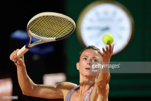 Camila Giorgi of Italy serves in her round one match against Dayana Yastremska of Ukraine during day one of the Internazionali BNL D'Italia at Foro...